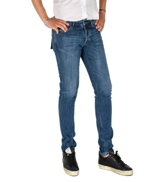 JEANS UOMO MICHAEL COAL BLU COTONE SKINNY FIT MADE IN ITALY 1000W20 L