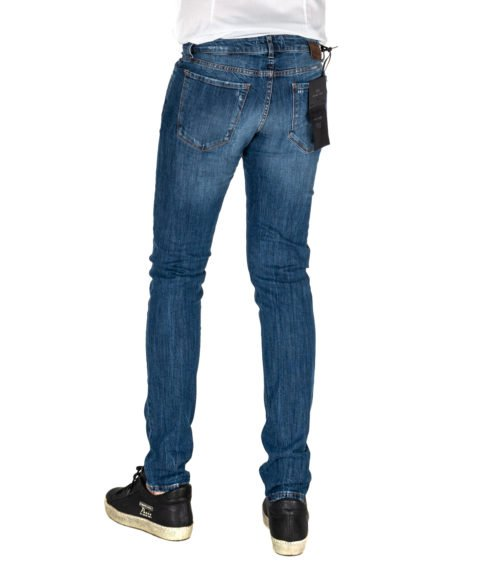 JEANS UOMO MICHAEL COAL BLU COTONE SKINNY FIT MADE IN ITALY 1000W207