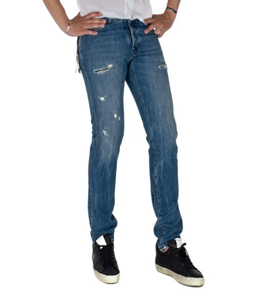 JEANS UOMO MICHAEL COAL BLU COTONE SKINNY FIT MADE IN ITALY 1097W212