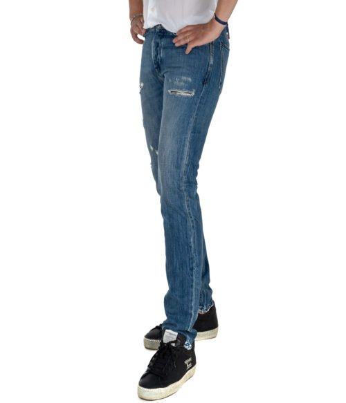 JEANS UOMO MICHAEL COAL BLU COTONE SKINNY FIT MADE IN ITALY 1097W21L