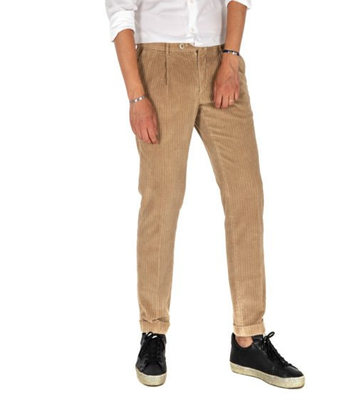 PANTALONE UOMO GTA BEIGE VELLUTO CON PINCES SLIM FIT MADE IN ITALY