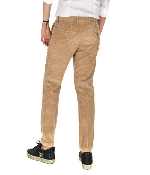 PANTALONE UOMO GTA BEIGE VELLUTO CON PINCES SLIM FIT MADE IN ITALY E01S00-D