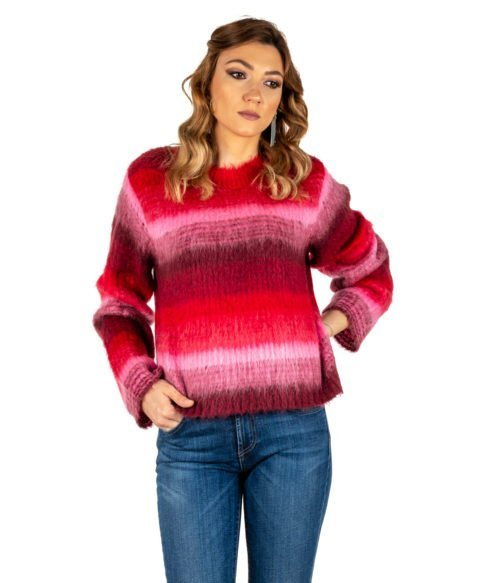 PULLOVER DONNA DONDUP ROSA FANTASIA LANA MOHAIR MADE IN ITALY