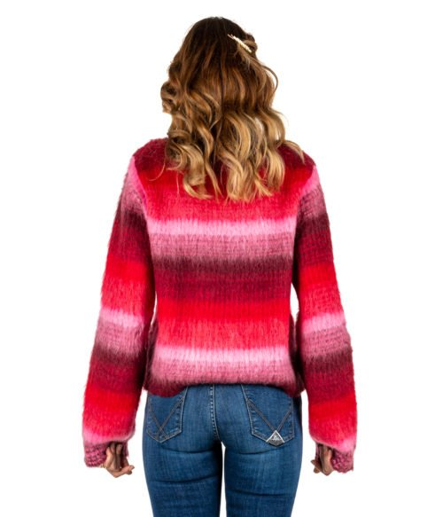 PULLOVER DONNA DONDUP ROSA FANTASIA LANA MOHAIR MADE IN ITALY PULL DONDUP PINK