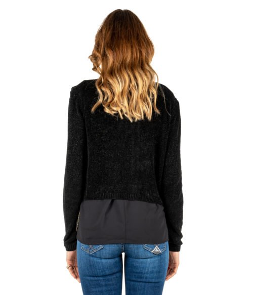 PULLOVER DONNA KOCCA JEANS NERO CARDIGAN CINIGLIA MADE IN ITALY JACKET WOMAN