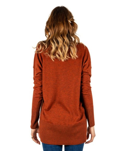 PULLOVER DONNA MALIPARMI ARANCIONE MELANGE CASHMERE JQ46 MADE IN ITALY ORANGE WOMAN