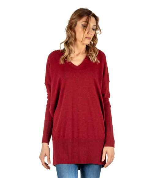 PULLOVER DONNA MALIPARMI ROSSO MELANGE CASHMERE JQ4671 MADE IN ITALY WOMAN