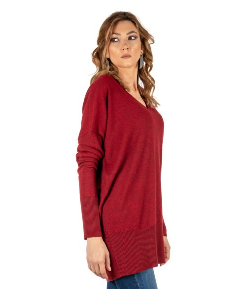 PULLOVER DONNA MALIPARMI ROSSO MELANGE CASHMERE JQ4671 MADE IN ITALY WOMAN PULLOVER