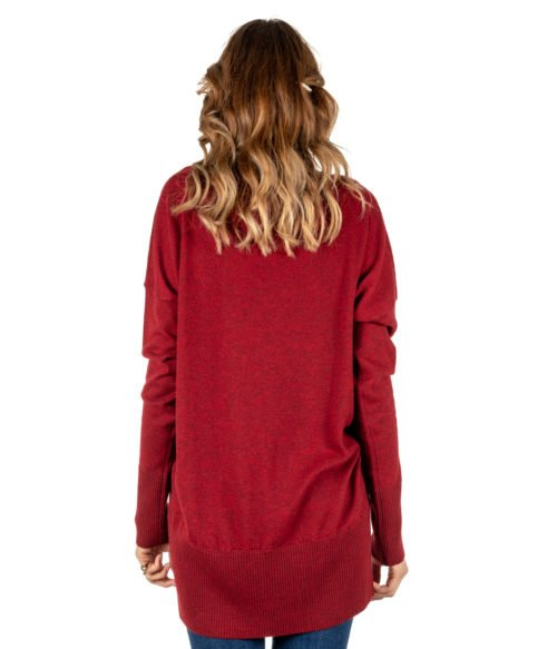 PULLOVER DONNA MALIPARMI ROSSO MELANGE CASHMERE JQ4671 MADE IN ITALY WOMAN PULLOVER RED