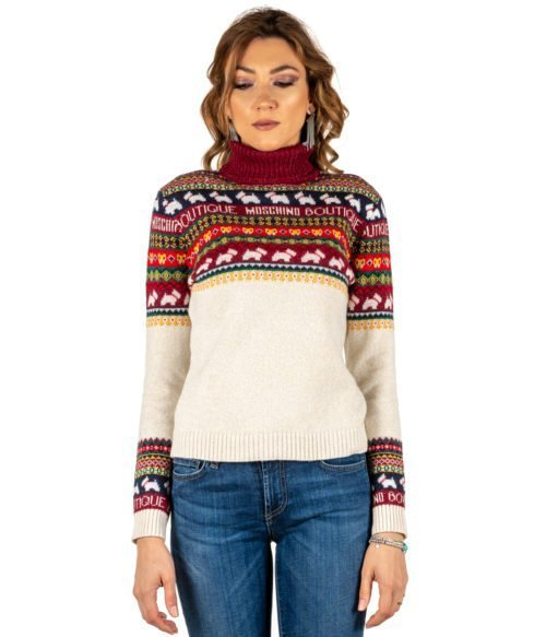 PULLOVER DONNA MOSCHINO BOUTIQUE DOLCEVITA FANTASIA LANA MADE IN ITALY PULL WOMAN WHITE RED