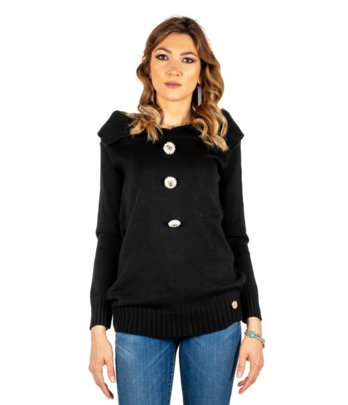 PULLOVER DONNA TUWÈ NERO MAGLIA LANA MADE IN ITALY PULL BLACK WOMAN