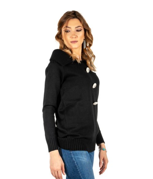 PULLOVER DONNA TUWÈ NERO MAGLIA LANA MADE IN ITALY PULL WOMAN BLACK