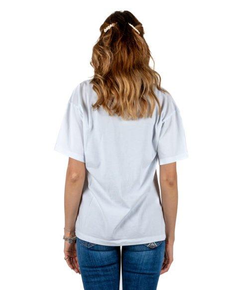 T-SHIRT DONNA GAELLE PARIS BIANCA GIROCOLLO GBD2722 MADE IN ITALY SHIRT WOMAN WHITE