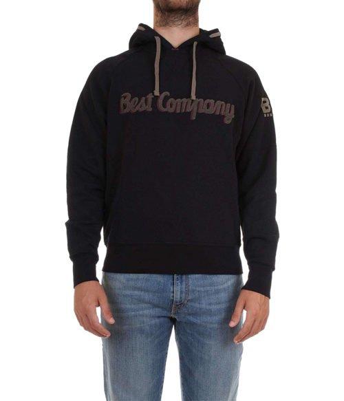 FELPA UOMO BEST COMPANY NERA CON CAPPUCCIO 69201