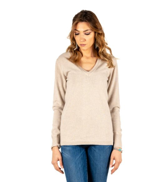 PULLOVER DONNA DANIELE FIESOLI BEIGE CACHEMIRE MADE IN ITALY