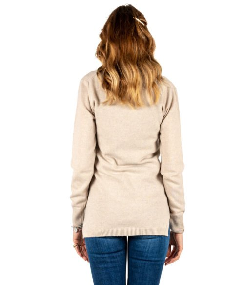 PULLOVER DONNA DANIELE FIESOLI BEIGE ECO CACHEMIRE LANA MADE IN ITALY