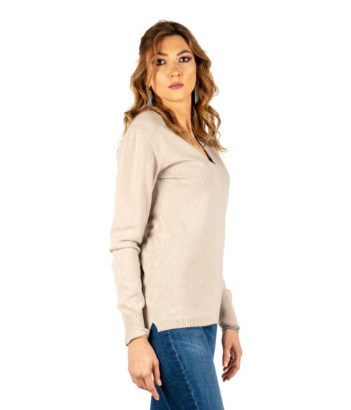 PULLOVER DONNA DANIELE FIESOLI BEIGE MADE IN ITALY