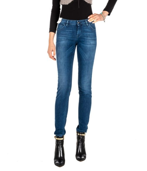 JEANS DONNA RE-HASH BLUE SKINNY PANTALONE RITA P302 271 MADE IN ITALY