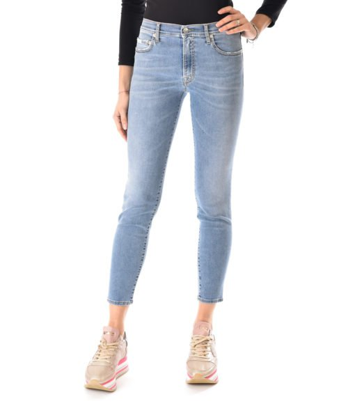 JEANS DONNA (+) PEOPLE DENIM STRETCH VITA ALTA MADE IN ITALY