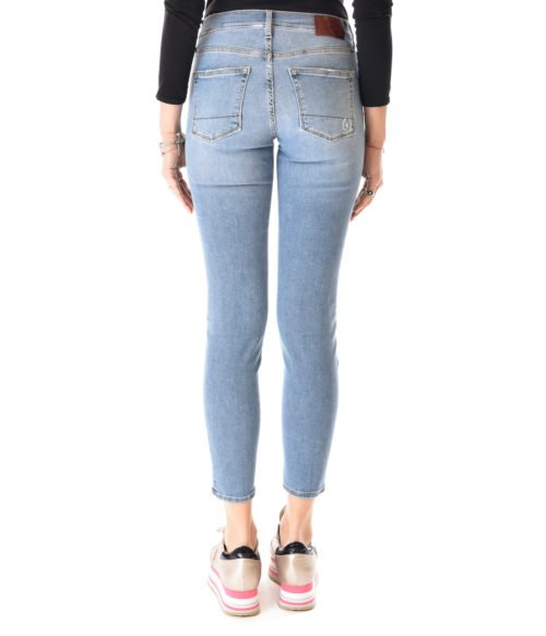 JEANS DONNA (+) PEOPLE DENIM VITA ALTA MADE IN ITALY