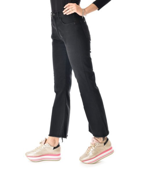 JEANS DONNA (+) PEOPLE NERO DENIM STRETCH MADE IN ITALY