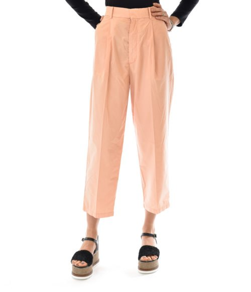 HAIKURE PANTALONE DONNA LIGHT PINK BOYFRIEND CON PINCE KOBE ANDERMATT SATIN LIGHT