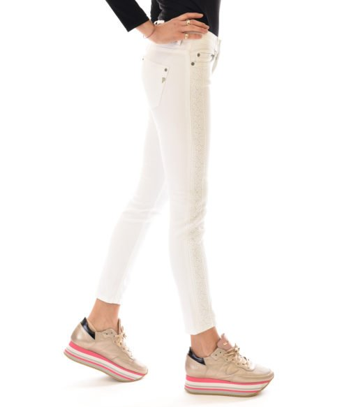 JEANS DONNA DONDUP BIANCO DENIM PANTALONE MONROE PIZZO MADE IN ITALY