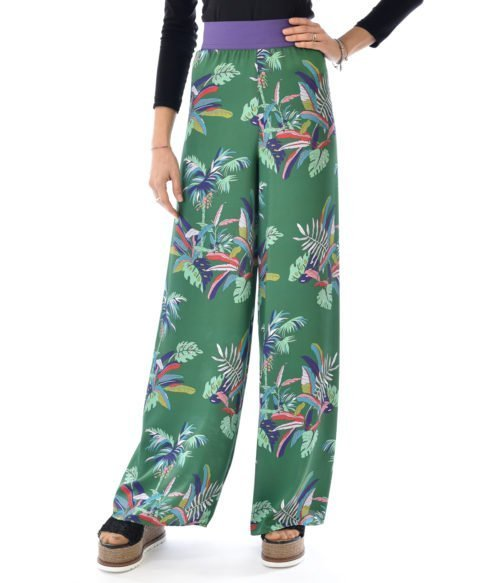 KOCCA PANTALONE DONNA VERDE FANTASIA FLOREALE MADE IN ITALY