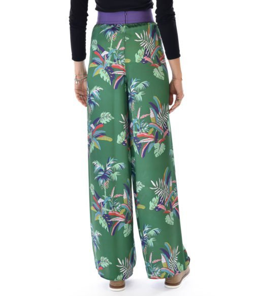 KOCCA PANTALONE DONNA VERDE FLOREALE MADE IN ITALY