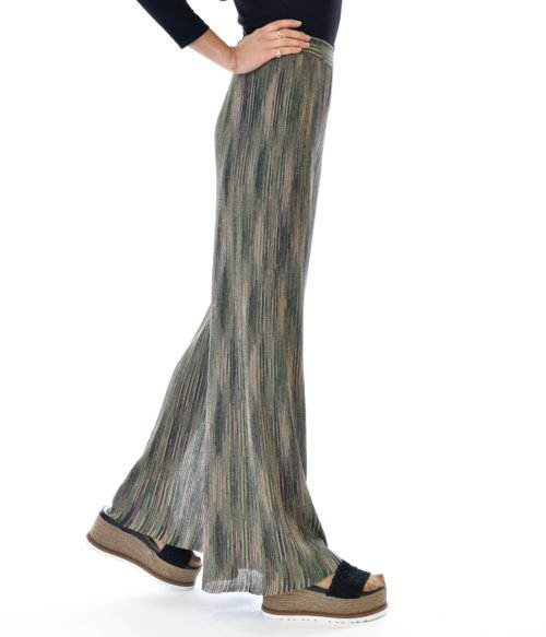 MISSONI PANTALONE DONNA VERDE FANTASIA IN MAGLINA LUREX A RIGHE