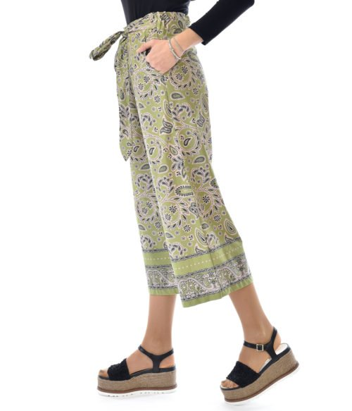 OTTOD'AME PANTALONE DONNA VERDE FANTASIA MADE IN ITALY