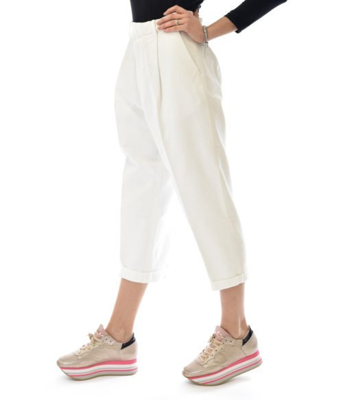 PANTALONE DONNA HAIKURE BIANCO LINO KOBE BULL MADE IN ITALY