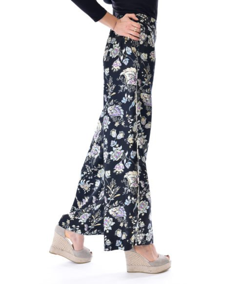 PANTALONE DONNA JUCCA NERO FLOREALE FLOWER CASUAL