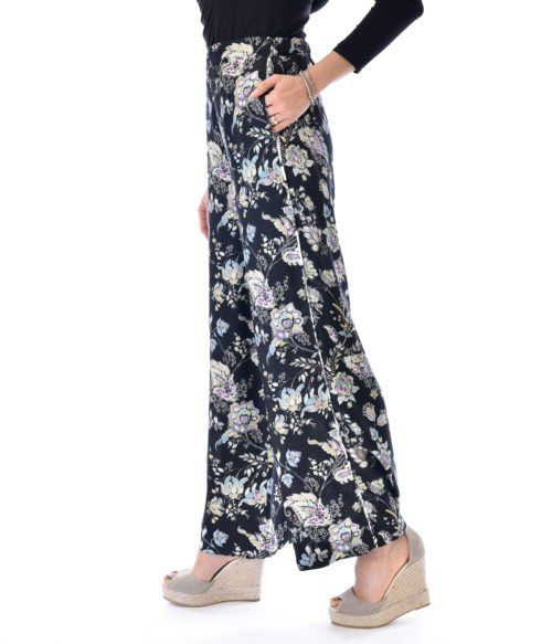 PANTALONE DONNA JUCCA NERO FLOREALE FLOWER CASUAL FLOWER MADE IN ITALY