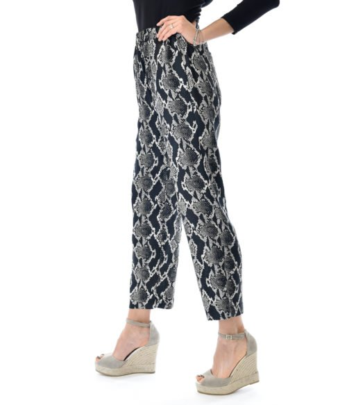 PANTALONE DONNA JUCCA NERO SNAKE ANIMALIER CASUAL MADE IN ITALY