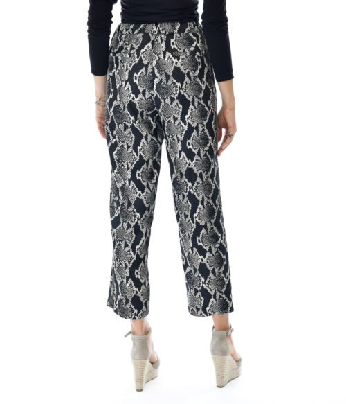 PANTALONE DONNA JUCCA NERO SNAKE ANIMALIER CASUAL MADE IN ITALY BLACK