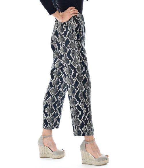 PANTALONE DONNA JUCCA NERO SNAKE CASUAL MADE IN ITALY