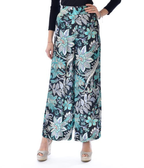 PANTALONE DONNA JUCCA NERO VERDE FLOREALE MADE IN ITALY