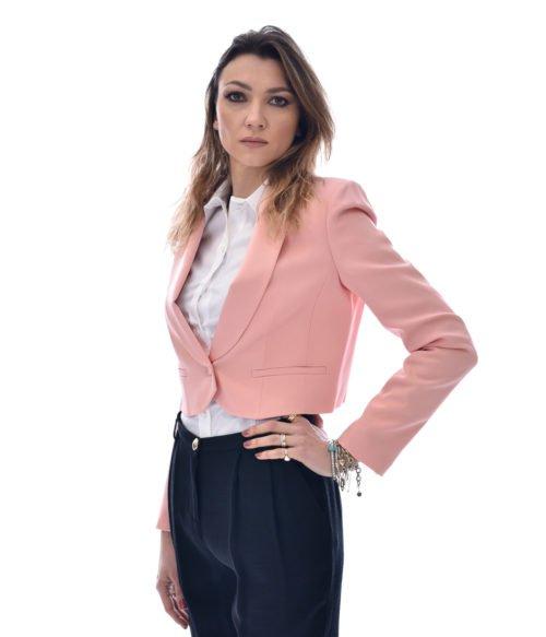 PATRIZIA PEPE GIACCA DONNA AMNESIA ROSÈ SMOKING 2S1156AJ80 1