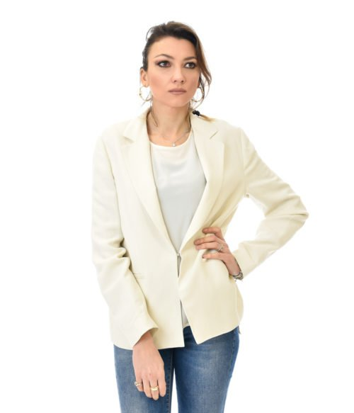 TWINSET GIACCA DONNA NEVE BLAZER BIANCO IN LINO SPRING