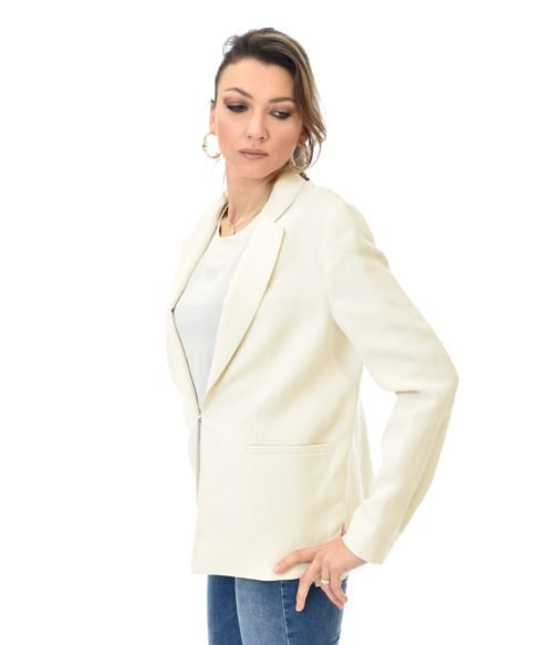 TWINSET GIACCA DONNA NEVE BLAZER BIANCO IN LINO SPRING SUMMER