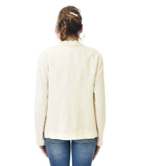 TWINSET GIACCA DONNA NEVE BLAZER BIANCO IN LINO SPRING SUMMER WOMAN