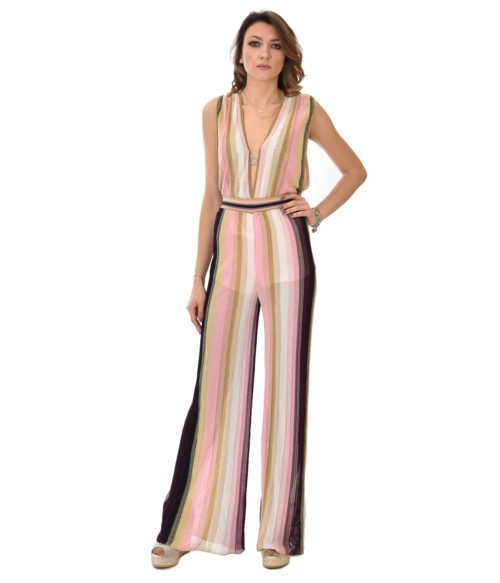 MISSONI ABITO DONNA ROSA JUMPSUIT IN LUREX FANTASIA 19E M2P0 AH59 MM21 M0