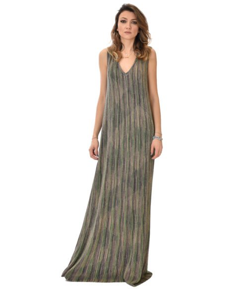 MISSONI ABITO DONNA VERDE FANTASIA IN MAGLINA LUREX
