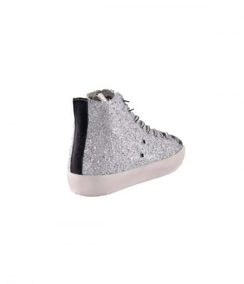 LEATHER CROWN SNEAKERS DONNA SILVER GLITTER ZEBRA