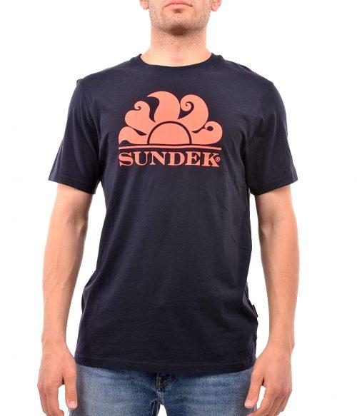 SUNDEK T-SHIRT UOMO BLU NAVY NEW SIMEON LOGO