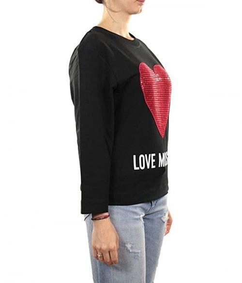 LOVE MOSCHINO FELPA DONNA NERA CUORE STRASS ROSSO W637102E20