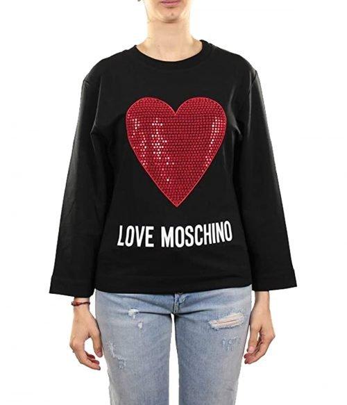 LOVE MOSCHINO FELPA DONNA NERA CUORE STRASS ROSSO W637102E201