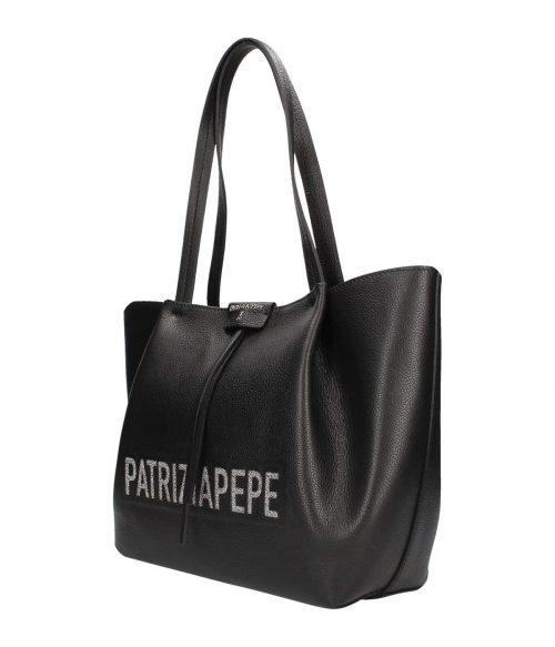 PATRIZIA PEPE BORSA DONNA NERA SHOPPING BAG IN PELLE 2