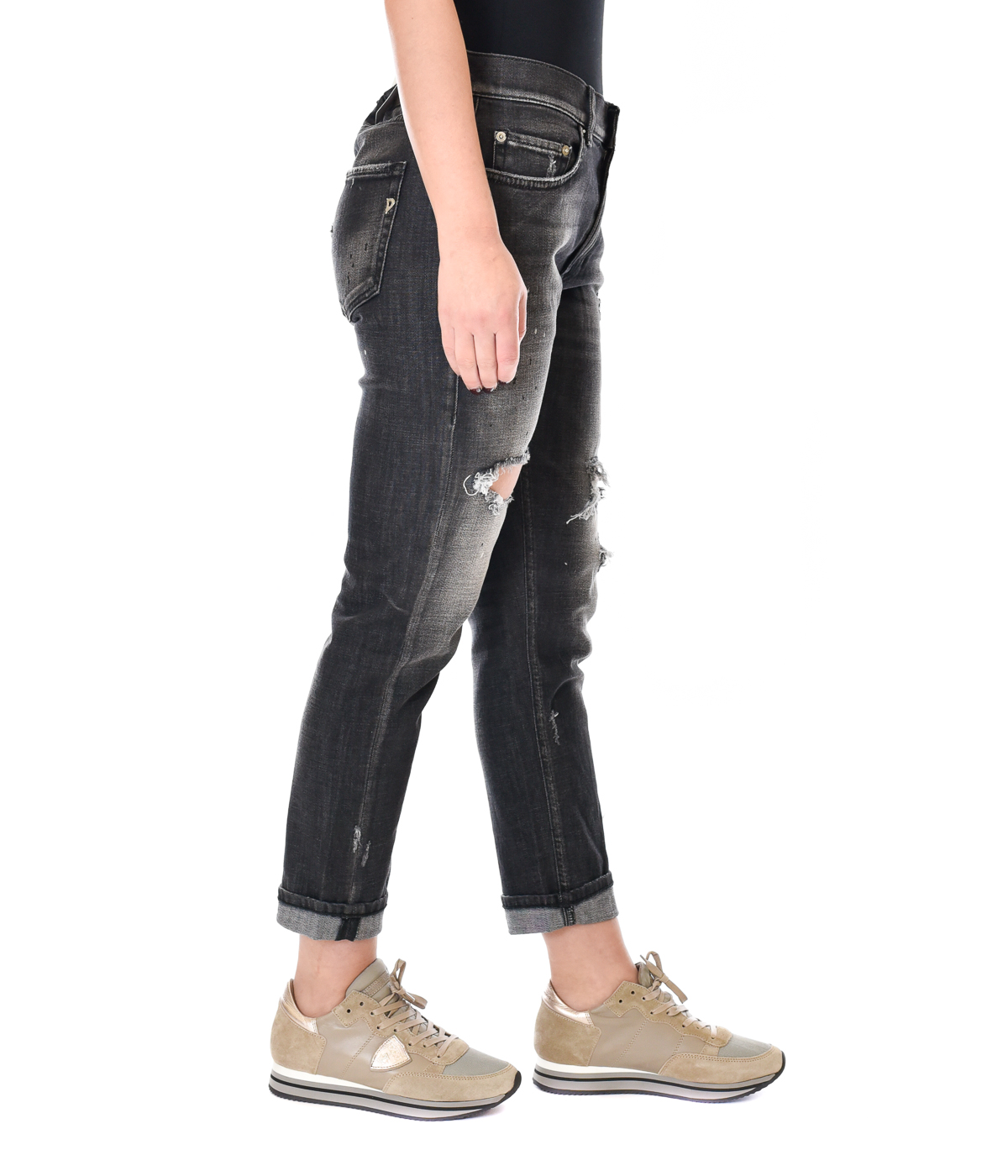 DONDUP JEANS DONNA NERO SKINNY FIT CON ROTTURE